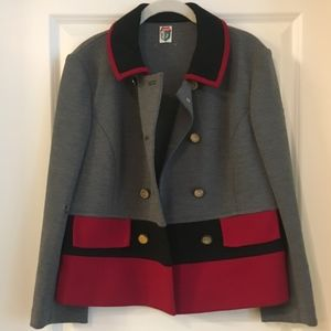 Vintage Wool Colorblock Button-Up Jacket